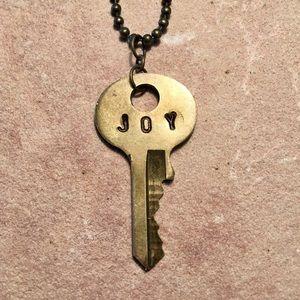 Joy Inspirational Vintage Key Necklace
